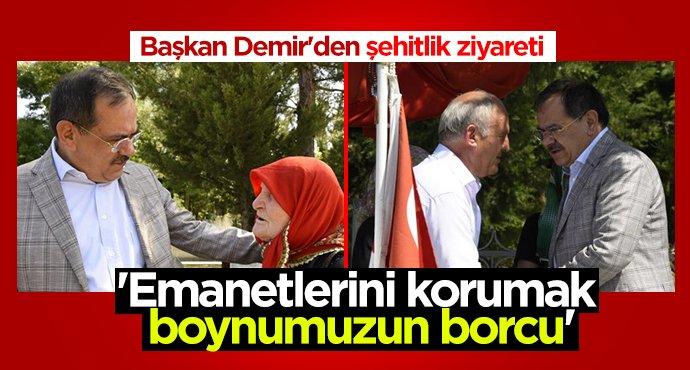 Başkan Mustafa Demir'den şehitlik ziyareti