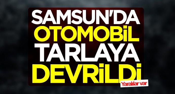 Samsun'da otomobil tarlaya devrildi
