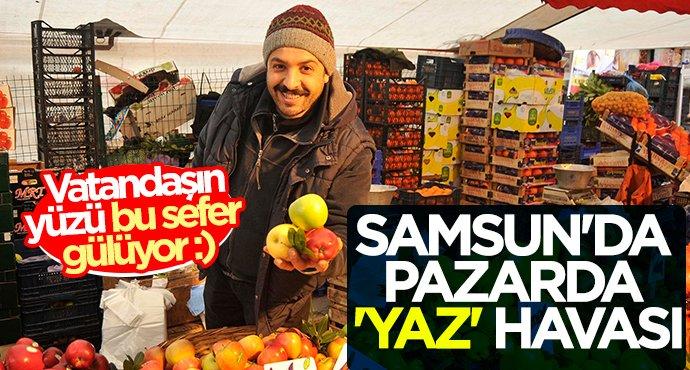 Samsun'da pazarda 'yaz' havası