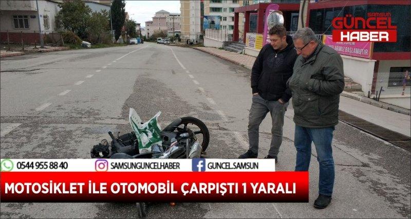 MOTOSİKLET İLE OTOMOBİL ÇARPIŞTI 1 YARALI