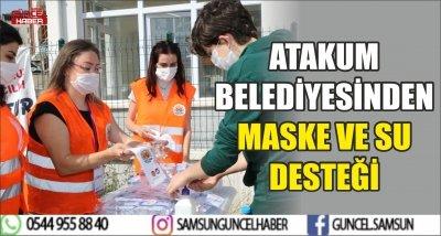 ATAKUM BELEDİYESİNDEN MASKE VE SU DESTEĞİ