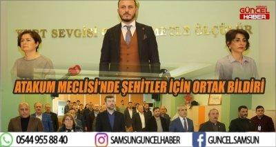 ATAKUM MECLİSİ'NDE ŞEHİTLER İÇİN ORTAK BİLDİRİ