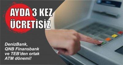 DenizBank, QNB Finansbank ve TEB'den ortak ATM dönemi!