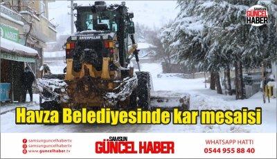 Havza Belediyesinde kar mesaisi