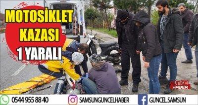MOTOSİKLET KAZASI 1 YARALI