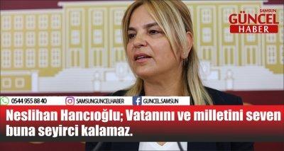 Neslihan Hancıoğlu; Vatanını ve milletini seven buna seyirci kalamaz