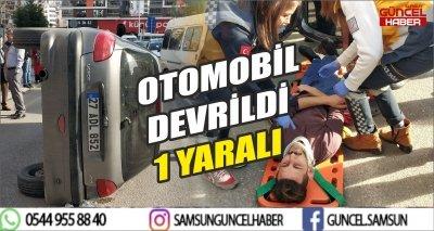 OTOMOBİL DEVRİLDİ 1 YARALI