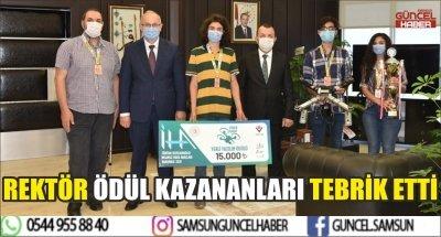 REKTÖR ÖDÜL KAZANANLARI TEBRİK ETTİ