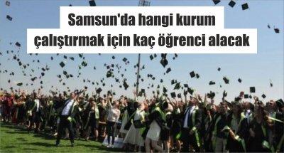 Samsun'da hangi kurum çalıştırmak için kaç öğrenci alacak