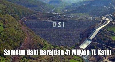 Samsun'daki Barajdan 41 Milyon TL Katkı