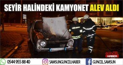 SEYİR HALİNDEKİ KAMYONET ALEV ALDI