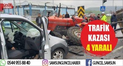 TRAFİK KAZASI 4 YARALI